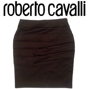 ROBERTO CAVALLI black pencil skirt with pleats
